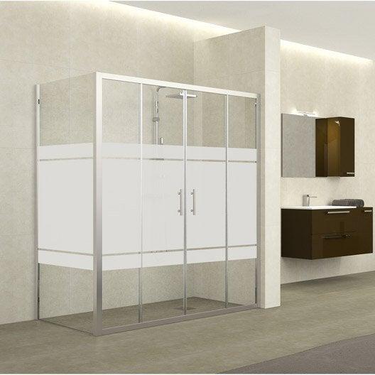 Porte de douche coulissante 164 170 cm profil chrom for Porte de douche hauteur 170