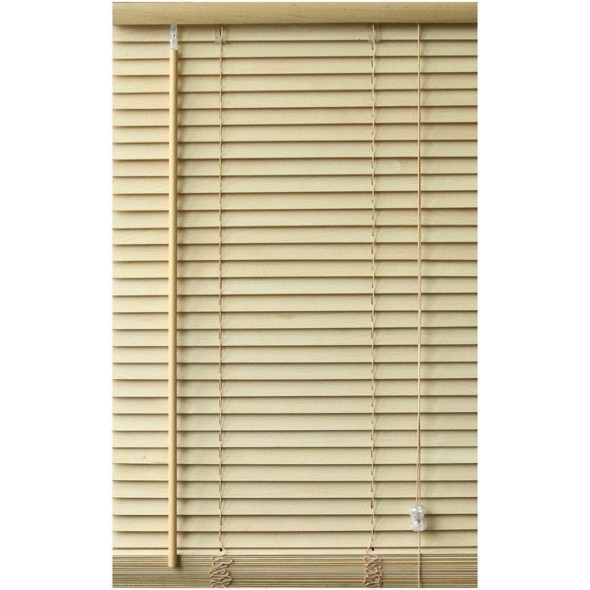 merveilleux Store vénitien bois, couleur bouleau, l.60 x H.250 cm