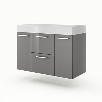 Meuble vasque l.105 x H.64 x P.48 cm, gris, SENSEA Neo line