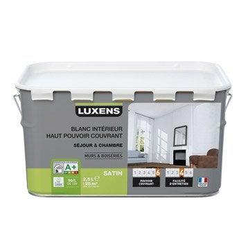 Peinture blanche mur et boiserie Haut pouvoir couvrant LUXENS, satin 2.5 l
