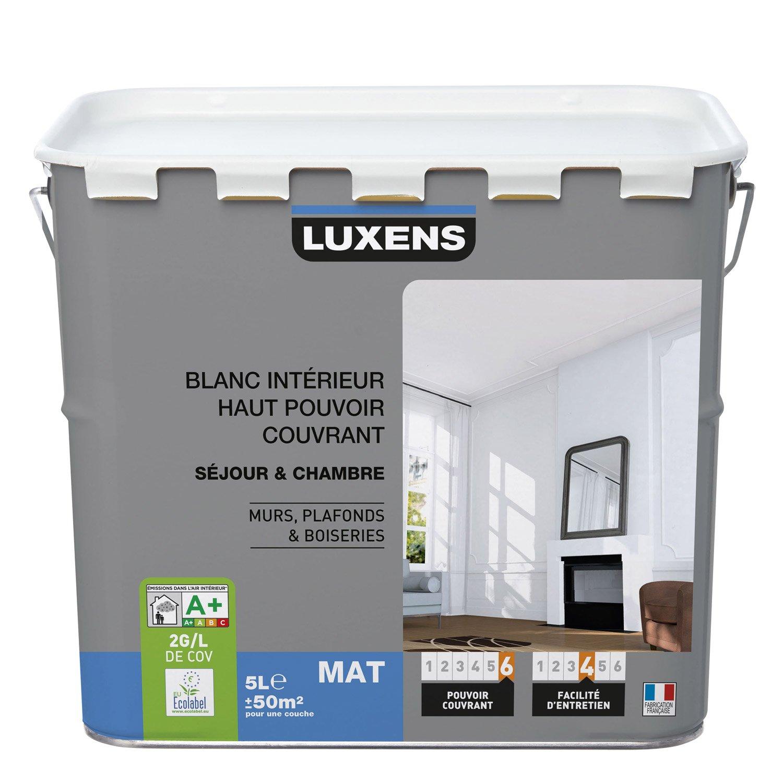 Peinture Blanche Mur Plafond Et Boiserie Haut Pouvoir Couvrant Luxens Mat 5 L