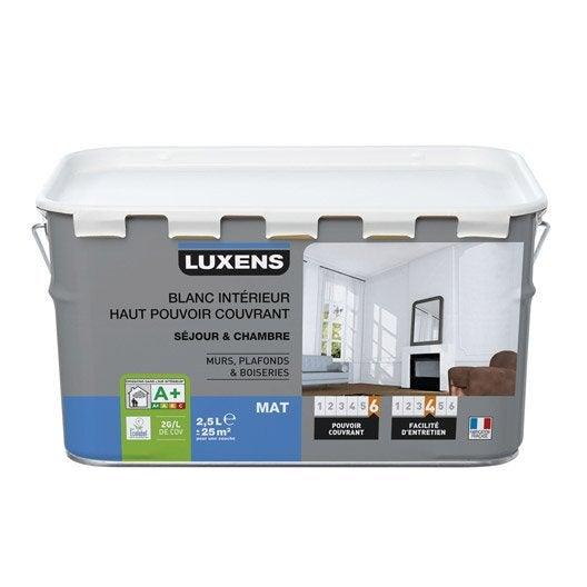 peinture blanche mur et plafond haut pouvoir couvrant luxens, mat
