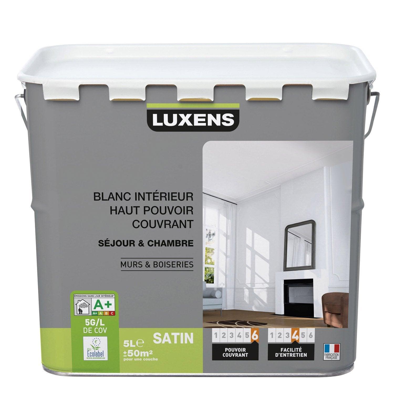 Peinture blanche mur et boiserie Haut pouvoir couvrant LUXENS, satin ...
