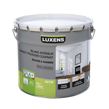 Peinture blanche mur et boiserie Haut pouvoir couvrant LUXENS, satin 10 l