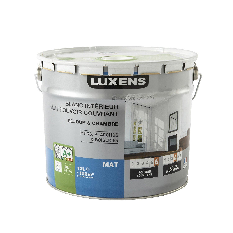peinture blanche mur plafond et boiserie haut pouvoir couvrant luxens mat 10 l leroy merlin. Black Bedroom Furniture Sets. Home Design Ideas
