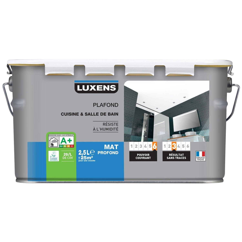 peinture blanche plafond cuisine et bains luxens, mat 2.5 l | leroy