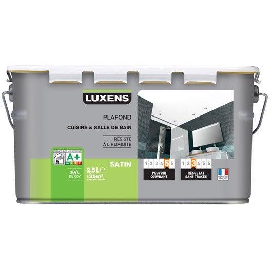 Peinture blanche plafond Plafond cuisine et bains LUXENS, satin 2.5 l