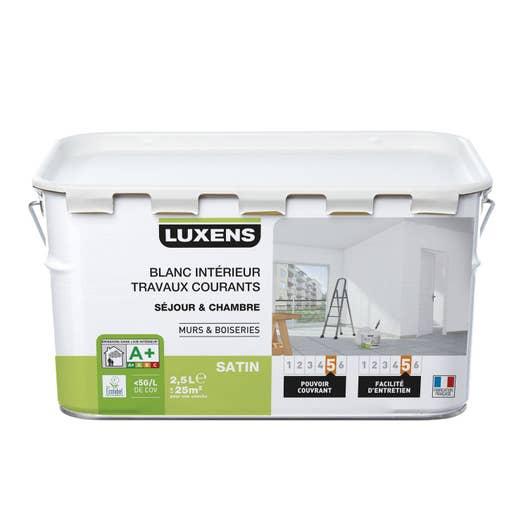 peinture blanche mur et boiserie travaux courants luxens satin 2 5 l leroy merlin. Black Bedroom Furniture Sets. Home Design Ideas