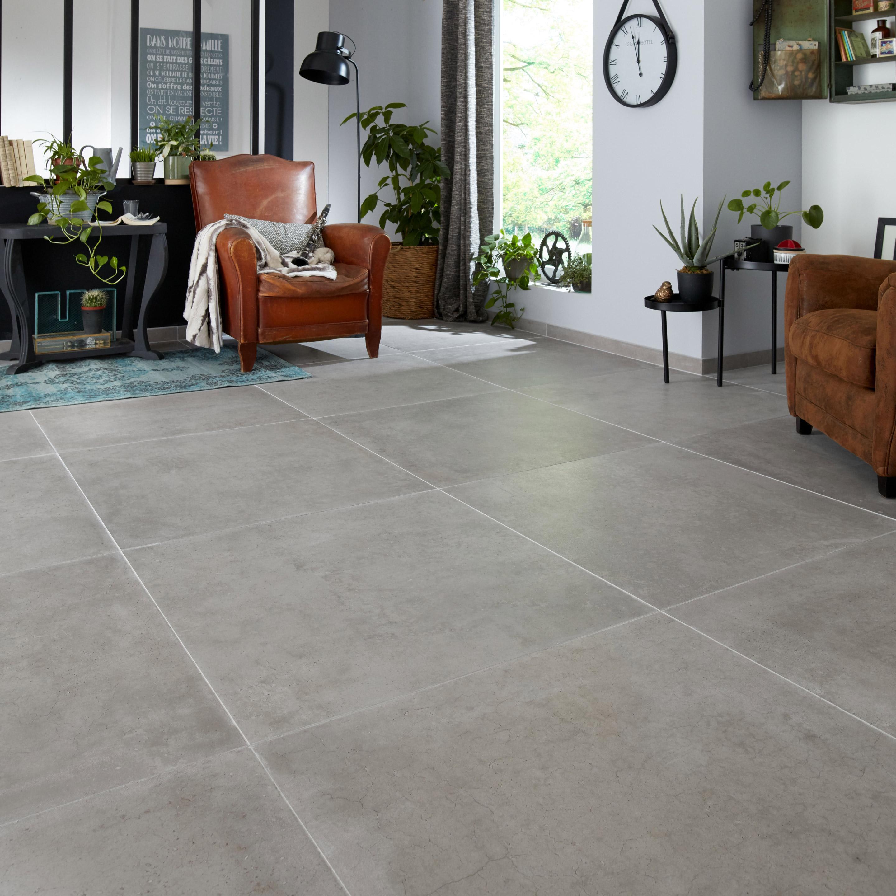 Carrelage sol et mur effet béton gris clair Spirit l.80 x L.80 cm ARIANA