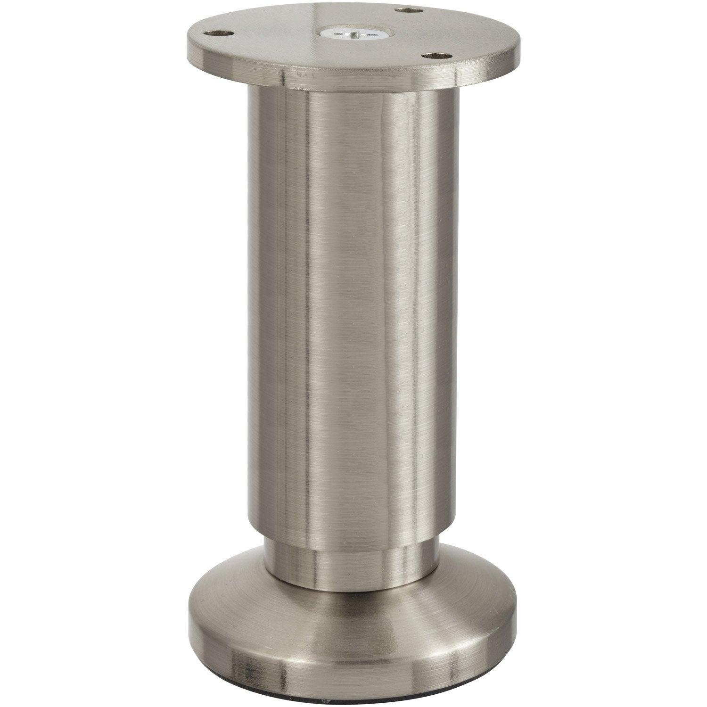 Pied De Meuble Cylindrique Reglable Aluminium Chrome Gris De 12 A