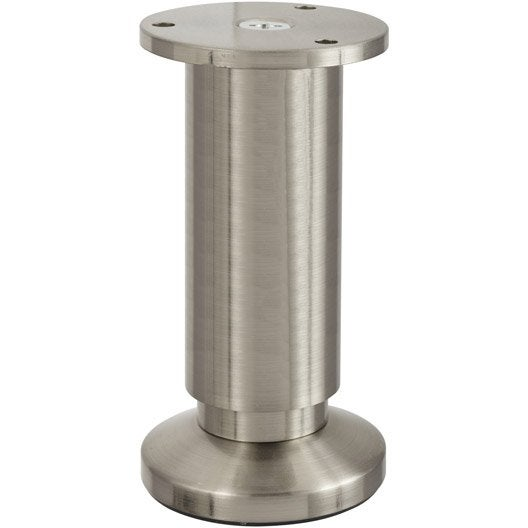 Pied de meuble cylindrique r glable en aluminium chrom - Leroy merlin pied de meuble ...
