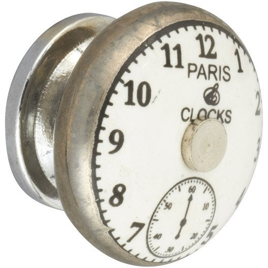 Bouton de meuble en m tal brillant s rie montre for Bouton en porcelaine pour meuble