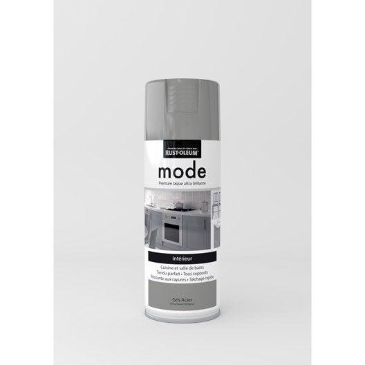 Peinture a rosol mode brillant rustoleum gris acier 0 4 l leroy merlin for Peinture gris brillant