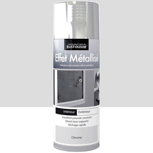 peinture a rosol effet metallis m tallis rustoleum chrome 0 4 l leroy merlin. Black Bedroom Furniture Sets. Home Design Ideas