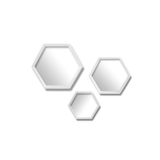 Lot de 3 miroirs hexagonaux blanc x cm leroy for Miroir 50 cm