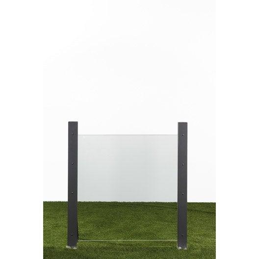 Panneau verre semi-vitré, l.90 cm x h.90 cm, naturel