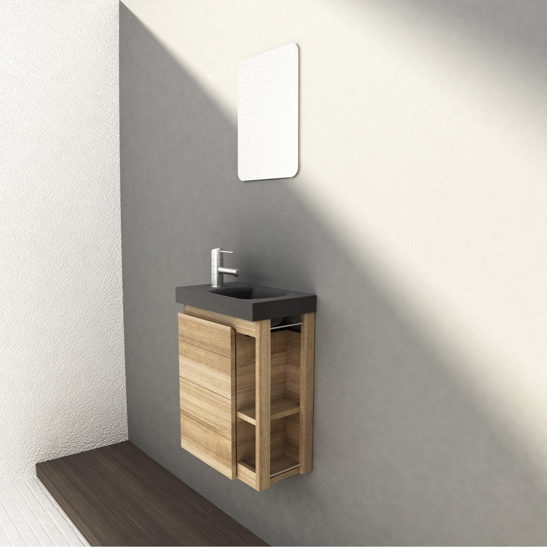 Meuble lave-mains avec miroir, imitation chêne naturel, l.22.5 x p.40 x h.48 cm