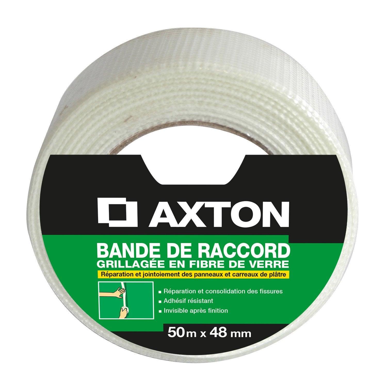 bande à joint fibre de verre axton, l.50 m x l.48 mm | leroy merlin