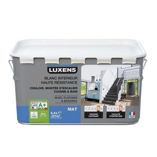 Peinture blanche mur, plafond et boiserie Haute résistance LUXENS, mat 2.5 l