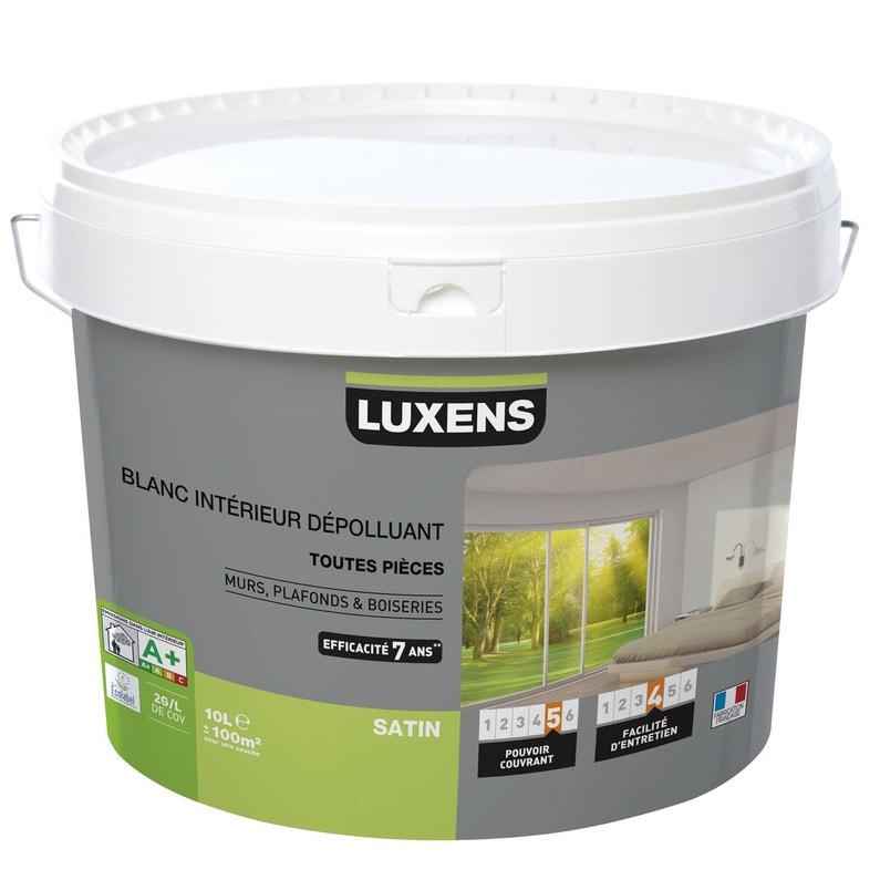 Peinture Blanc Mur Plafond Et Boiserie Dépolluante Luxens Satin 10 L