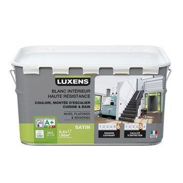 Peinture blanche mur, plafond et boiserie Haute résistance LUXENS, satin 2.5 l