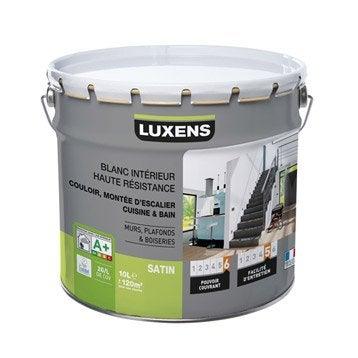 Peinture blanche mur, plafond et boiserie Haute résistance LUXENS, satin 10 l
