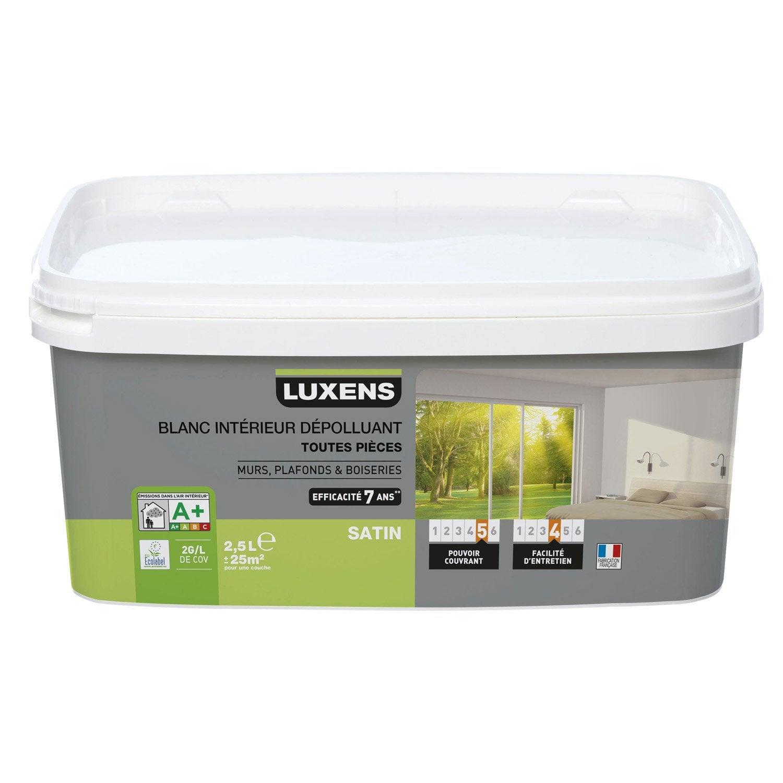 peinture blanche mur plafond et boiserie d polluante luxens satin 2 5 l leroy merlin. Black Bedroom Furniture Sets. Home Design Ideas