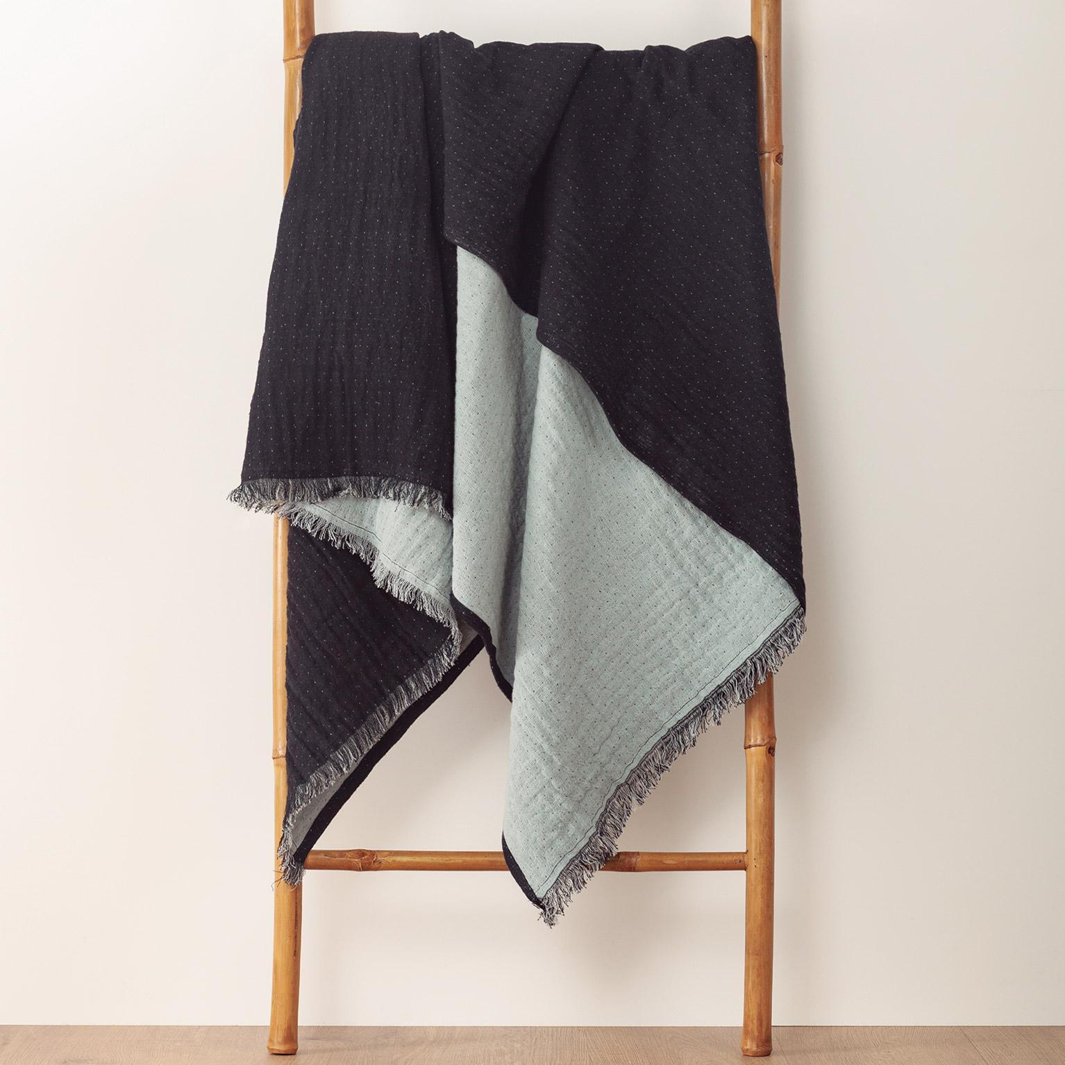 Plaid Bicolore fringes, gris/noir l.180 x L.220 cm