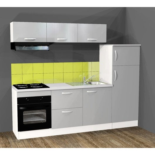 cuisine quip e l240 cm gris alu lectrom nager inclus leroy merlin. Black Bedroom Furniture Sets. Home Design Ideas