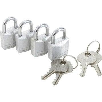 Lot de 4 cadenas à clé MASTERLOCK aluminium, l.20 mm