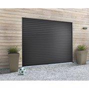 Porte de garage à enroulement HORMANN, motorisée, aluminium noir, 200 x 237cm
