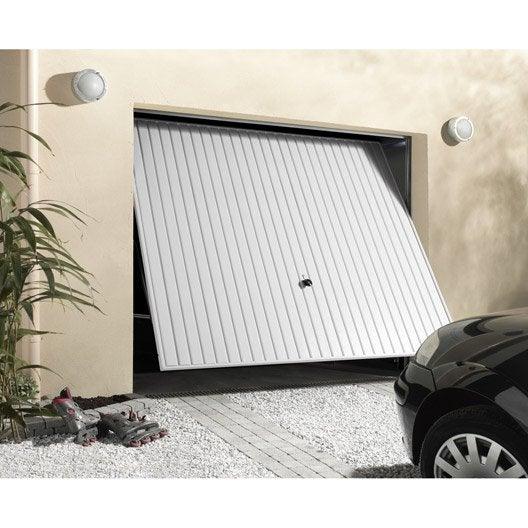 Porte de garage basculante manuelle d bordante x cm leroy merlin - Montage porte basculante ...