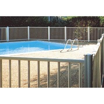 Barrière pour piscine aluminium Issambres blanc 9010, H.120 x l.150 cm