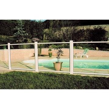 Barrière pour piscine aluminium Esterel blanc 9010, H.120 x l.100 cm