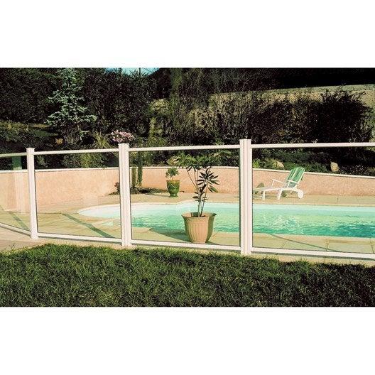 Barri re pour piscine aluminium esterel blanc 9010 x cm leroy merlin for Barriere aluminium jardin