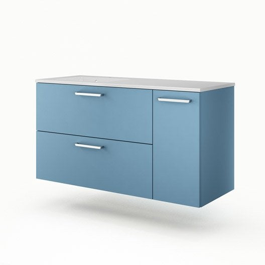 meuble vasque x x cm bleu sensea neo line leroy merlin. Black Bedroom Furniture Sets. Home Design Ideas