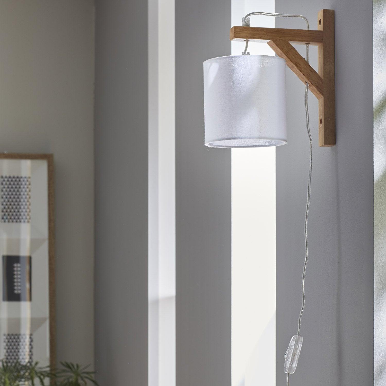 applique e14 stockholm bois naturel blanc 1 corep leroy merlin. Black Bedroom Furniture Sets. Home Design Ideas
