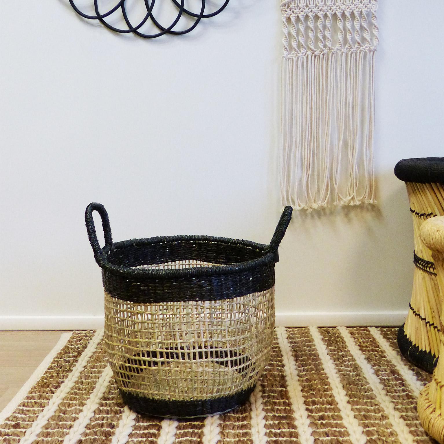 Panière décorative l fibre naturelle Abuja beige H.36 x l.35 x P.35 cm