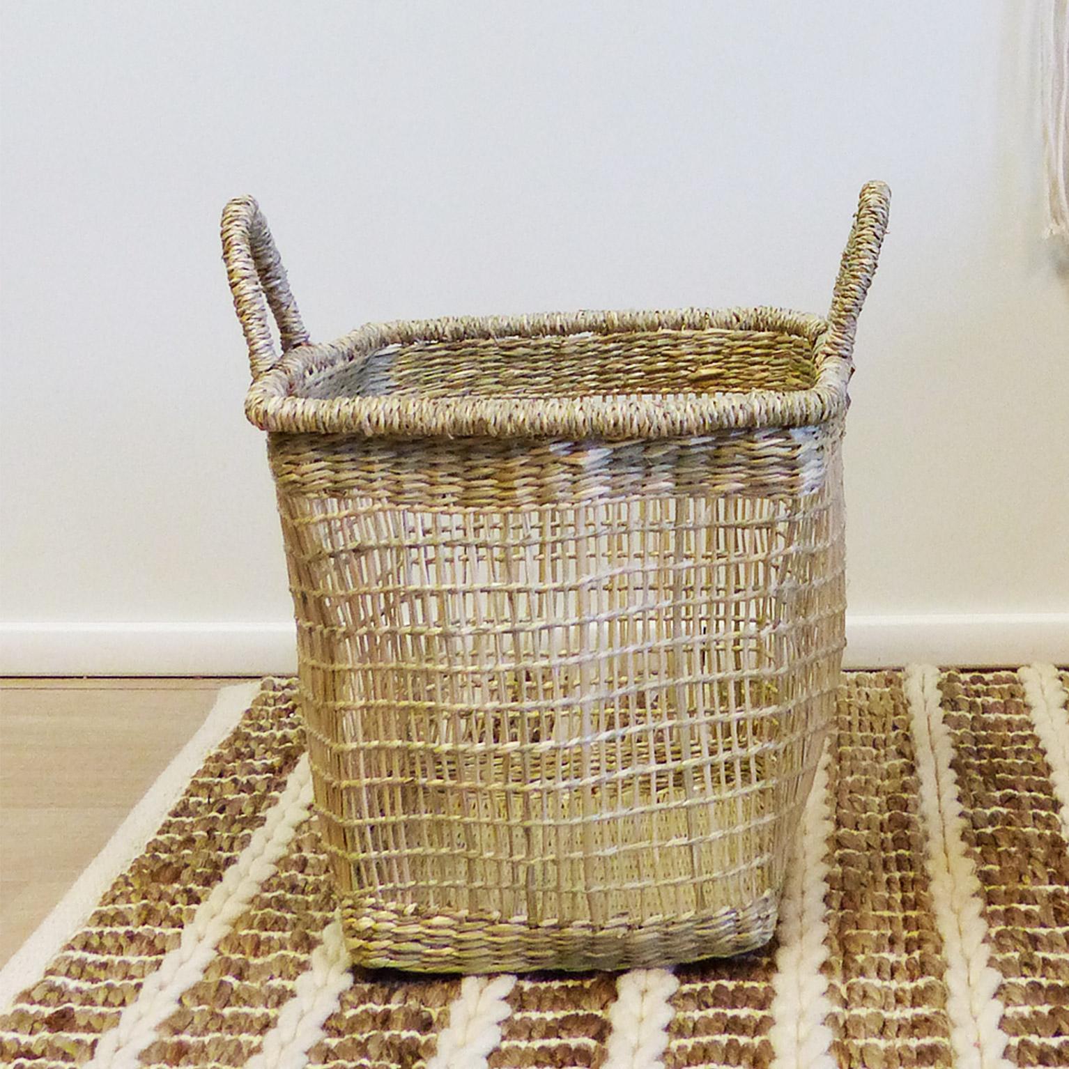 Panière décorative fibre naturelle Maputo beige H.36 x l.32 x P.32 cm