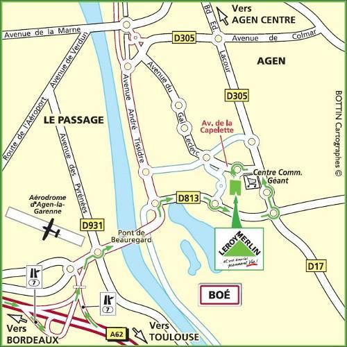 Plan d'accès au magasin Leroy Merlin de Périgueux (chancelade)