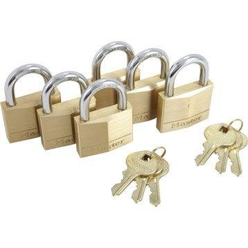 Lot de 6 cadenas à clé MASTERLOCK laiton, l.40 mm
