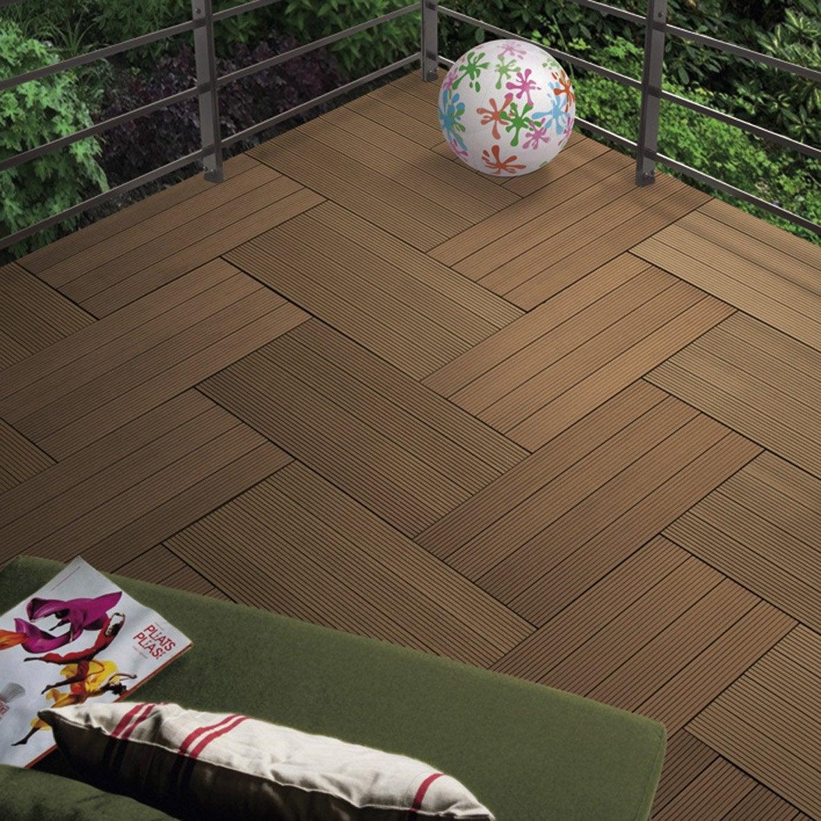 lot de 4 dalles clipsables composite snap go chocolat x cm x ep leroy merlin. Black Bedroom Furniture Sets. Home Design Ideas