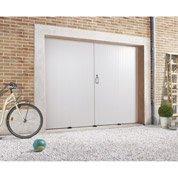 Porte de garage à la française PRIMO sans hublot, PVC blanc, 200 x 240cm