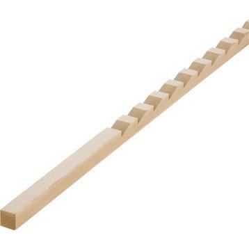 Crémaillère hêtre sans noeud raboté, 18 x 18 mm, L.2 m