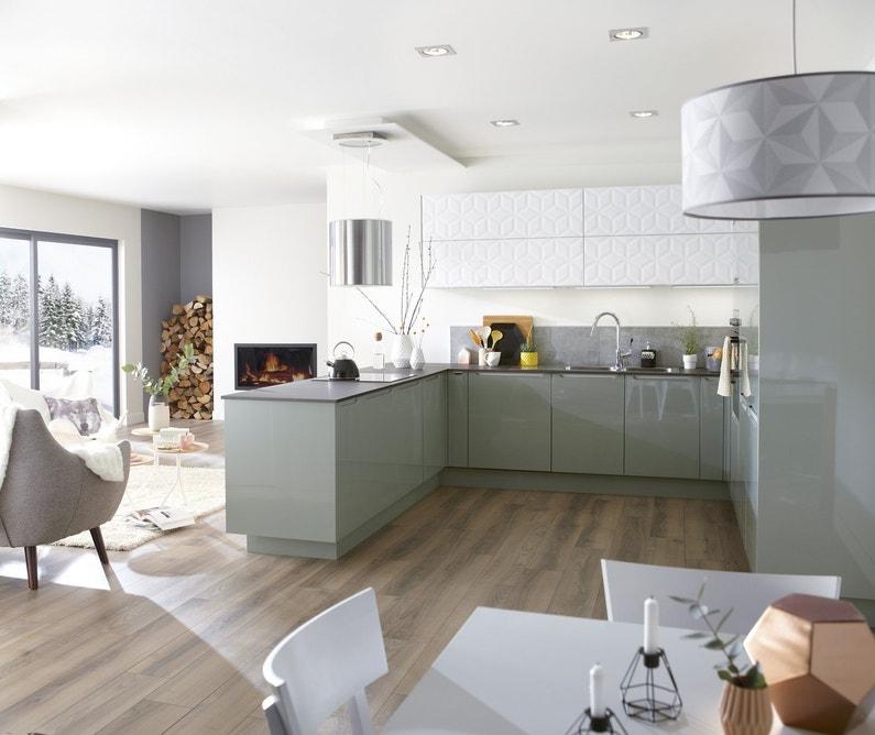 Deco Chambre Garcon Gris Jaune : Une cuisine vert pastel et blanche qui allie design et formes