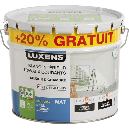 Peinture blanche mur plafond boiserie peinture for Peinture acrylique leroy merlin