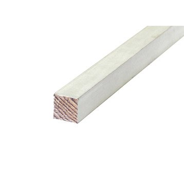 Tasseau raboté sapin sans nœud prépeint blanc 27x27mm L 2.40m