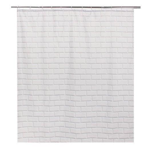 rideau de douche en textile blanc x cm metro. Black Bedroom Furniture Sets. Home Design Ideas