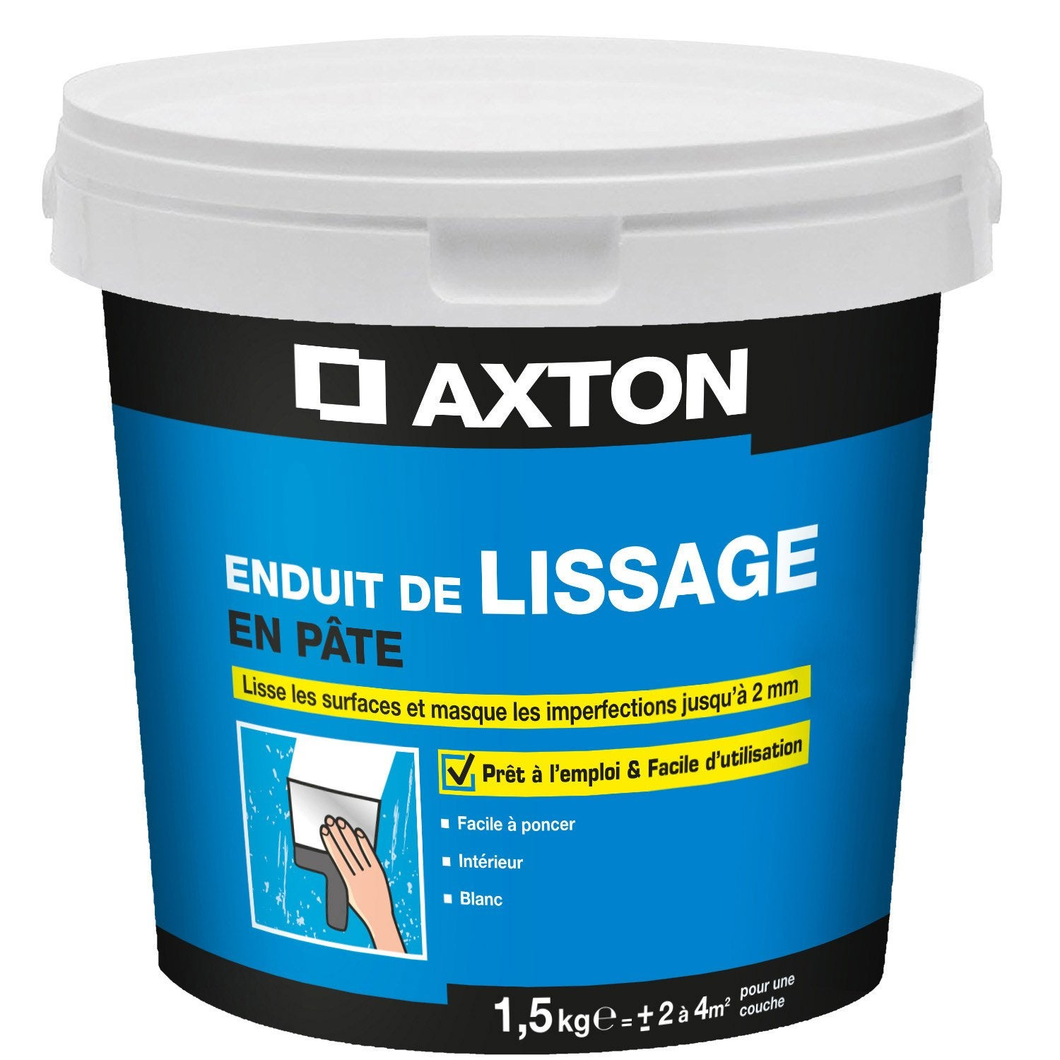 Enduit de lissage p te blanc cass axton 1 5 kg leroy for Video enduit de lissage