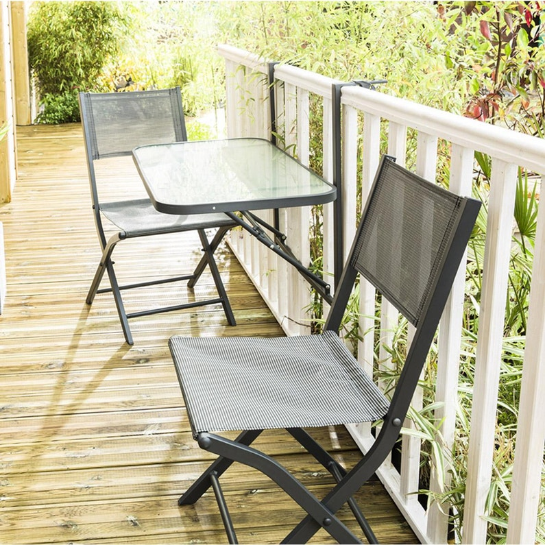 Salon de jardin Wilsa balcon t2 aluminium anthracite, 2 personnes